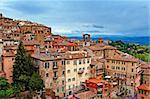 Bird's Eye View to Historic Center City of Perugia, Italy