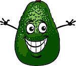 Cartoon Illustration of Funny Avocado Fruit Food Comic Character