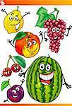 Cartoon Illustration of Funny Fruits Comic Food Characters Set