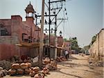 shops of earthenware vases near Bikaner Railway Junction, India