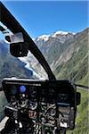 Helicopter Cockpit Over Franz Josef Glacier, Westland National Park, Southern Alps, West Coast Region, South Island, New Zealand