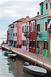 Houses on the waterfront, Burano, Venice, Veneto, Italy, Europe