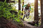 Mountain biker riding through woods