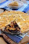 Rabbit and mushroom puff pastry pie