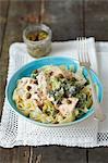Tagliatelle with salmon, broccoli, capers, dill and a cream sauce