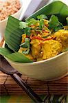 Fish curry on banana leaf