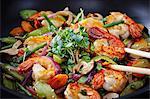 Stir-fried vegetables with king prawns