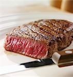 A rare sirloin steak
