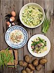 Three different potato salads