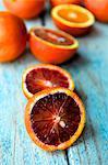 Halved blood oranges