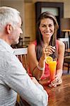 Couple enjoying drink in a restaurant