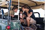 Three friends in SUV