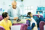 Men relaxing together in living room