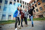 Portrait of dangerous guys making rebel in ghetto