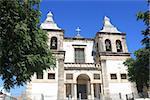 Facade of catholic church in Setubal, Portugal