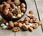 Mix nuts (almonds, hazelnuts, walnuts) on a wooden table