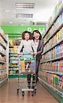 Mother and Daughter Having Fun in Supermarket, Pushing Cart