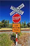 Railway Crossing Sign, Ward, Marlborough, South Island, New Zealand