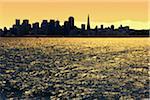 Skyline and San Francisco Bay at Sunset, San Francisco, California, USA
