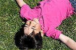 Smiling boy lying on grass