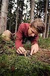 Teenage boy picking mushrooms, Bavaria, Germany, Europe