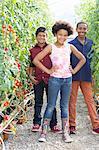 Three children standing with tomato plants