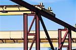 Steel girders on construction frame