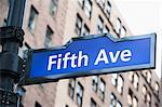 Fifth Avenue street sign, New York City, USA
