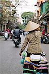 Vietnam, Hanoi, female market vendor carrying clothing, rear view