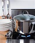 Pot of food on burner