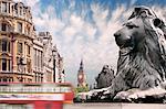England, London, bus passing Trafalgar Square (blurred motion)
