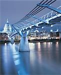 Millennium Bridge at Night, London, UK