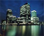 Waterfront at Canary Wharf at Night, London, England, United Kingdom
