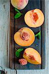 Peach halves and quarters