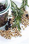 Juniper berries, white peppercorns and rosemary