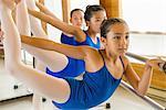 Ballerinas practising at the barre in ballet school