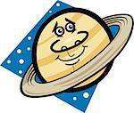 Cartoon Illustration of Funny Saturn Planet Comic Mascot Character