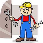 worker; workman; man; builder; cartoon; illustration; plumber; wrench; bolt; fix; screw; repair; fitter; work; mechanic; manual; manual worker; protective; helmet; profession; tool; happy; comic; character; drawing; vector; graphic; caricature; humor; clip art; cheerful; standing; occupation; equipment; job; mascot; employee; handyman; uniform