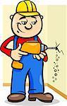 worker; workman; man; builder; cartoon; illustration; drill; driller; bit; borer; wall; work; mechanic; manual; manual worker; protective; helmet; profession; tool; happy; comic; character; drawing; vector; graphic; caricature; humor; clip art; cheerful; standing; occupation; equipment; job; mascot; employee; handyman; uniform