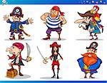 Cartoon Illustrations Set of Fairytale or Fantasy Pirates or Corsairs Mascot Characters