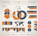 Retro infographics set. World Map and Information Graphics.