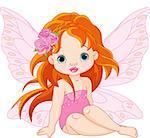 Illustration of little sitting fairy
