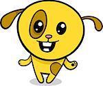 Cartoon Illustration of Kawaii Style Cute Happy Dog or Puppy