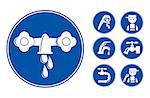 Blue Faucet / Tap Icons Set, eps vector illustration