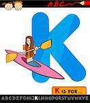 Cartoon Illustration of Capital Letter K from Alphabet with Kayak for Children Education