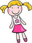 Cartoon Illustration of Toy Doll Clip Art