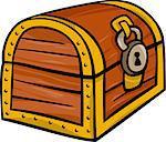 Cartoon Illustration of Treasure Chest Clip Art