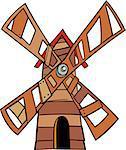 Cartoon Illustration of Wooden Windmill Clip Art