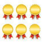 Set of different golden medals, vector eps10 illustration