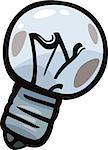Cartoon Illustration of Burned Out Old Bulb Clip Art